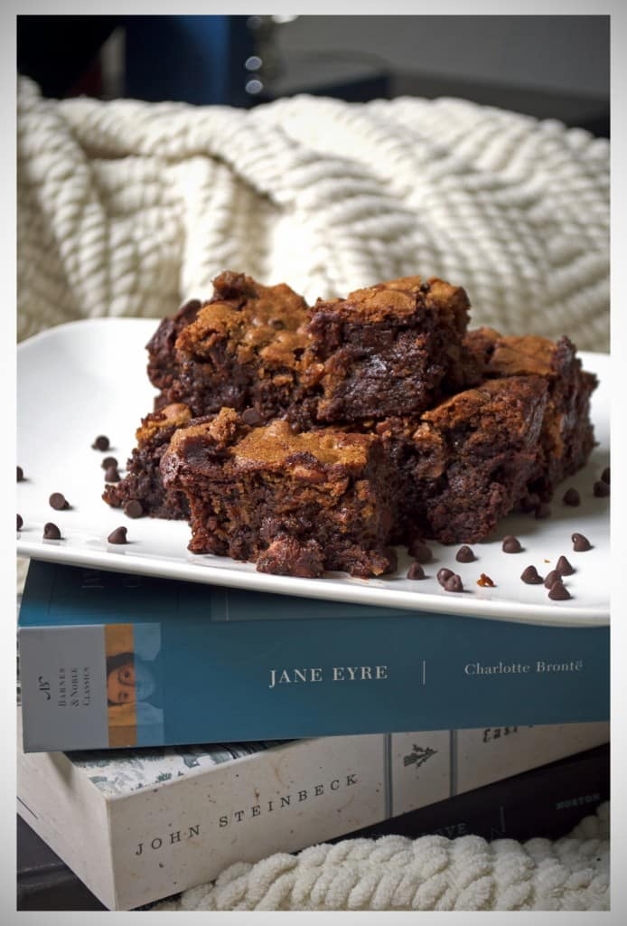 Chocolate Almond Brownie Cookie Bars | OfBatterAndDough.com