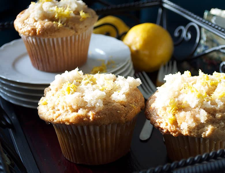 Lemon muffins with ginger | ofbatteranddough.com
