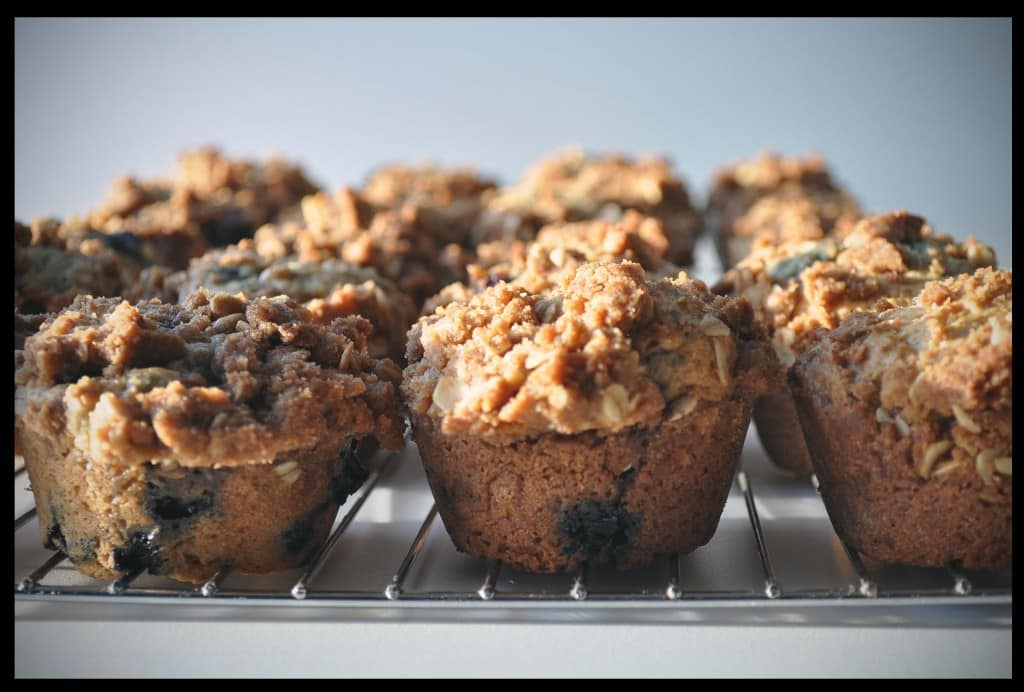 Sour Cream Streusel Blueberry Muffins | OfBatterAndDough.com