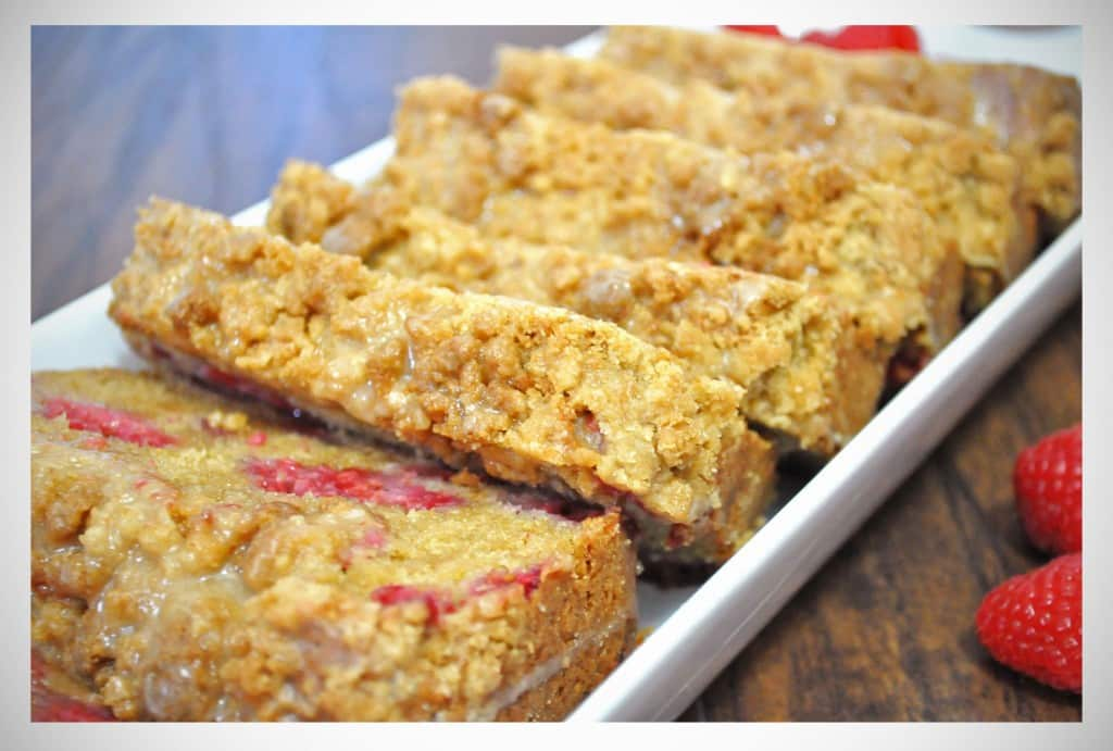 Raspberry Crumb Bread with Lemon Glaze | OfBatterAndDough.com