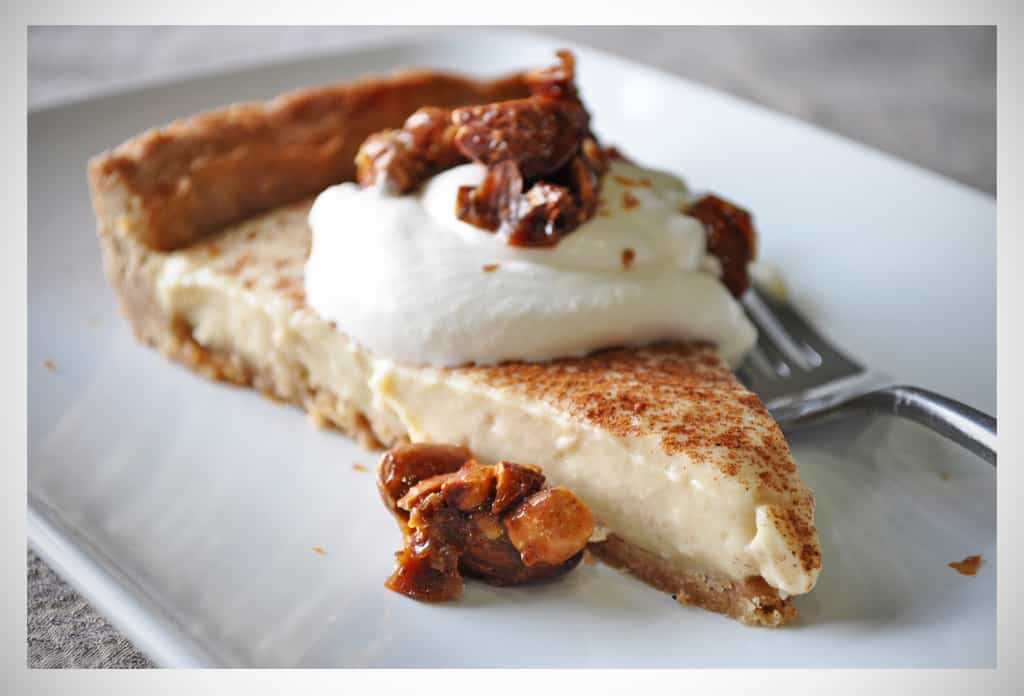 Rum Custard Tart with Almond Pralines