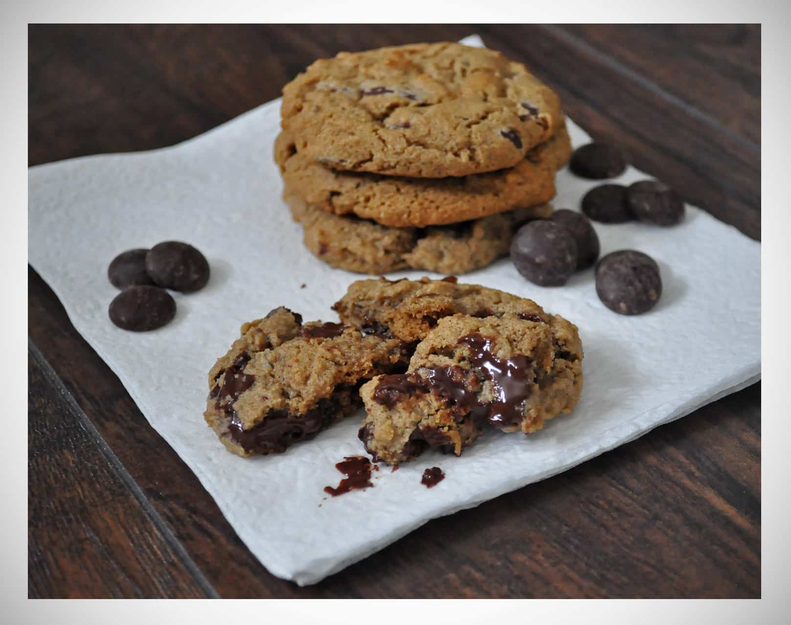 Gluten Free Chocolate Chip Cookies with Candied Ginger.