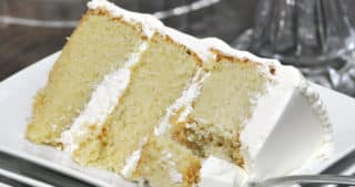Best Vanilla Cake Recipe with Vanilla Italian Meringue Buttercream | ofbatteranddough.com