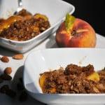 Fresh Peach Crisp Recipe. Fresh peaches topped with a buttery brown almond streusel. | OfBatterAndDough.com