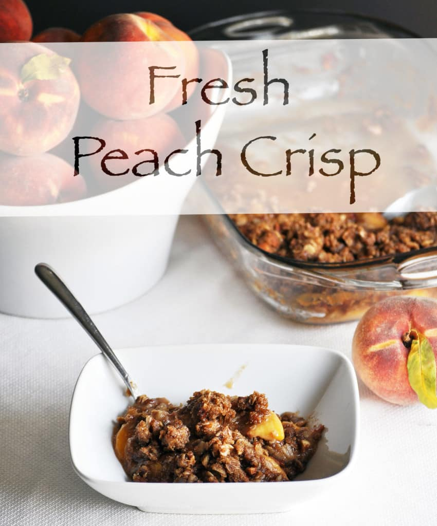 Fresh Peach Crisp Recipe. Fresh peaches topped with a buttery brown almond streusel. | OfBatterAndDough.com