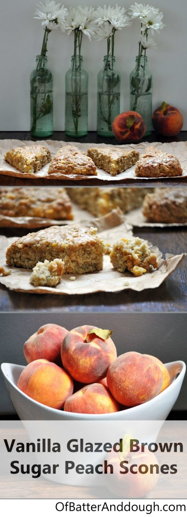 Glazed Brown Sugar Peach Scones | ofbatteranddough.com