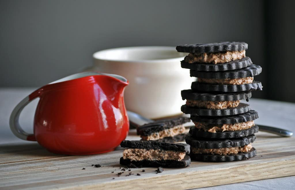 Hazelnut Mocha Coffee and Cream Sandwich Cookies | ofbatteranddough.com
