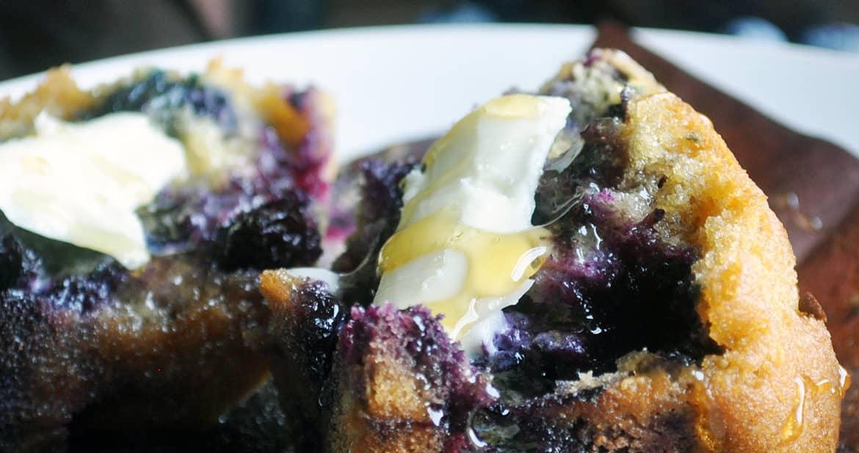 Blueberry Corn Muffins | ofbatteranddough.com
