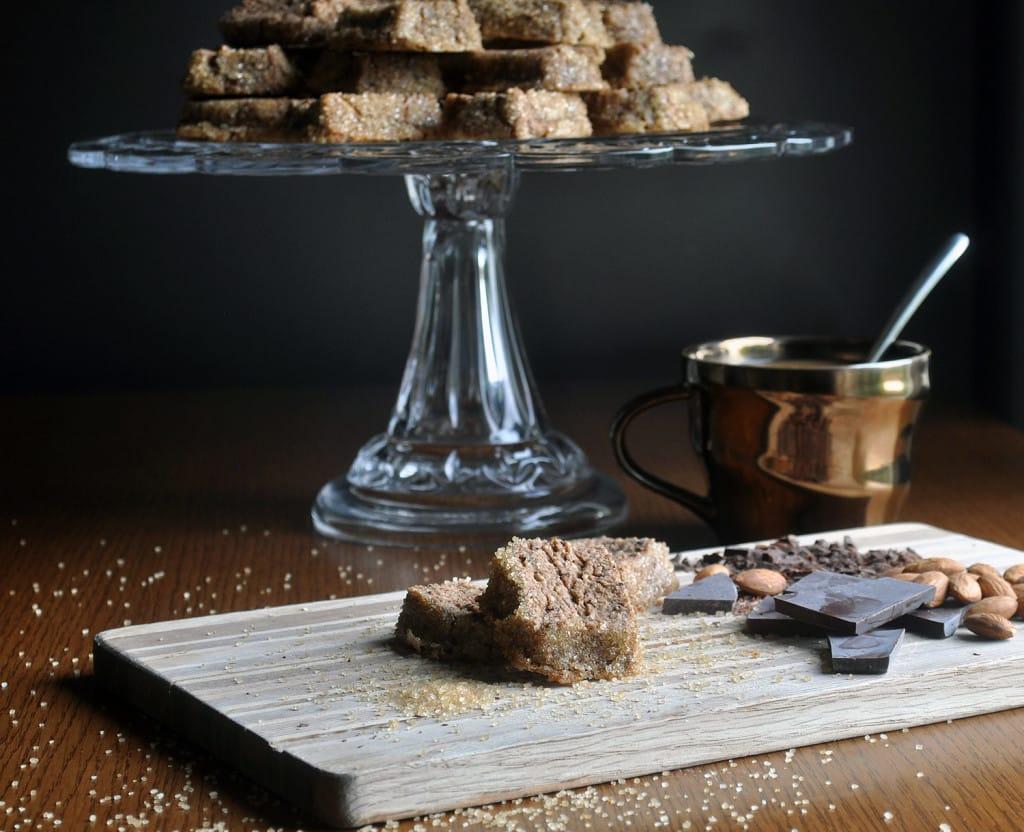 mocha almond sables, chocolate shortbread cookies