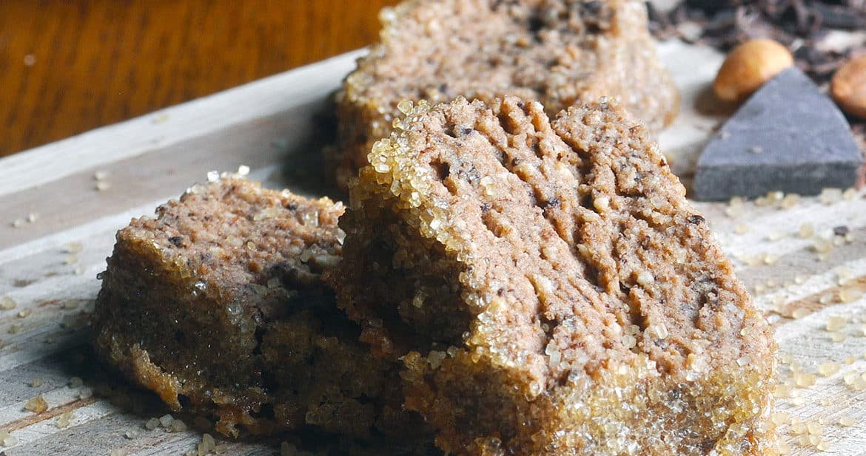mocha almond sables, chocolate almond shortbread cookies | ofbatteranddough.com