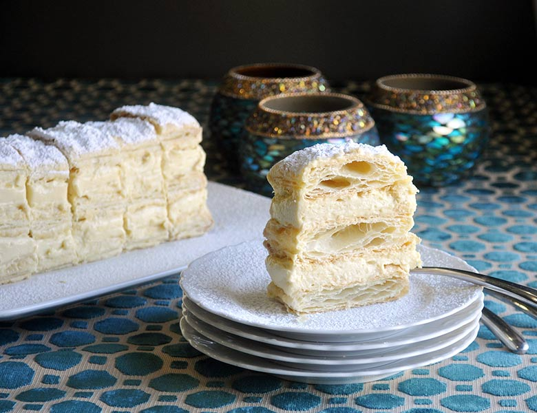 Napoleon Dessert filled with Vanilla Pastry Cream | ofbatteranddough.com