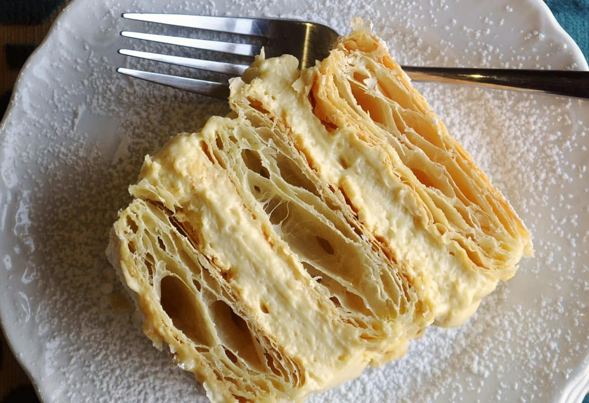 Napoleon Dessert Recipe French Pastry Mille Feuille Cream Pastry | ofbatteranddough.com