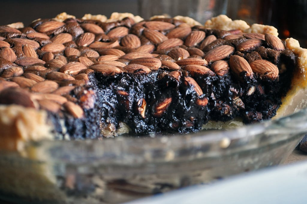 Easy Homemade Chocolate Pie with Almonds and Bourbon