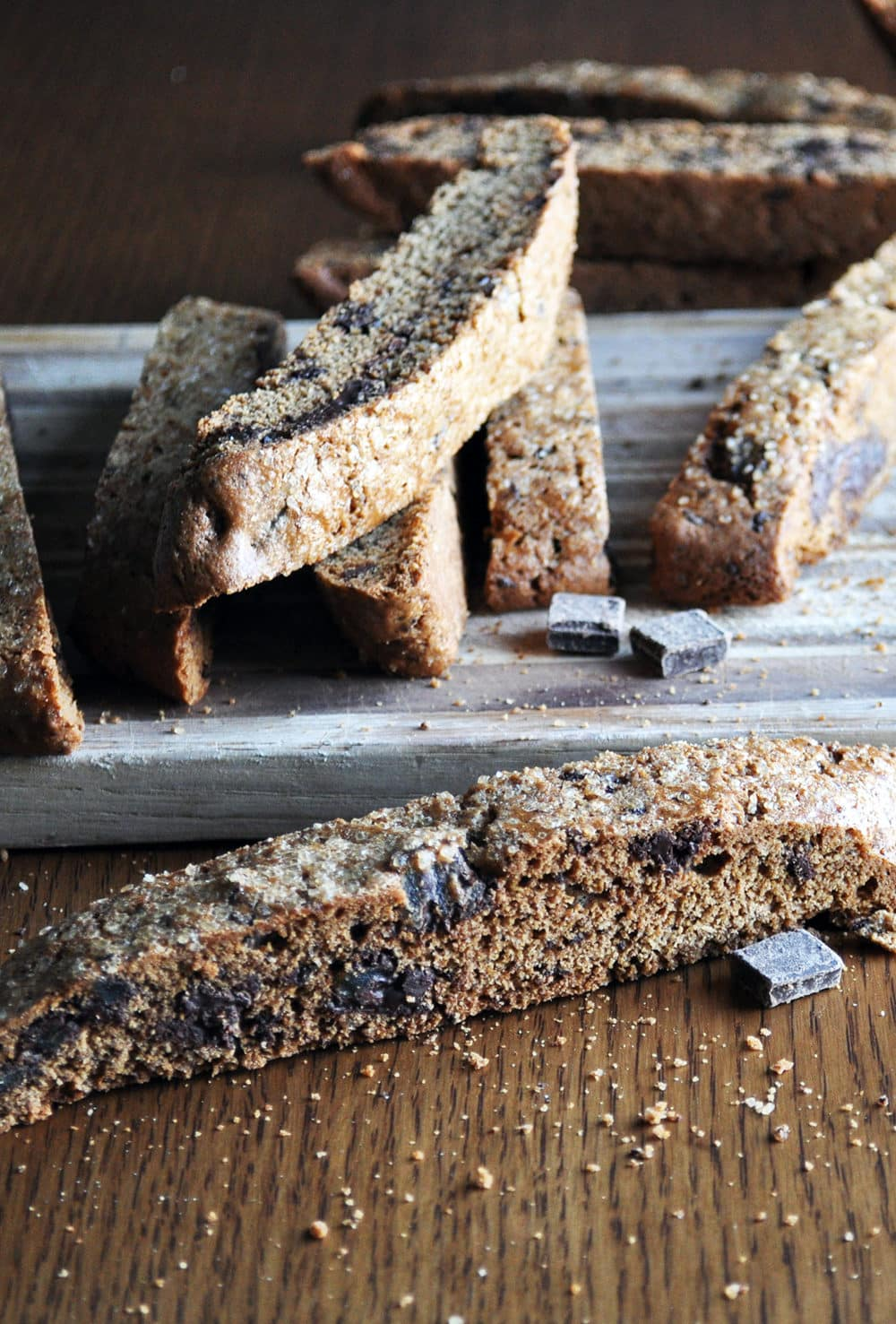 Gingerbread Biscotti Recipe with Dark Chocolate Ginger Bark | www.ofbatteranddough.com