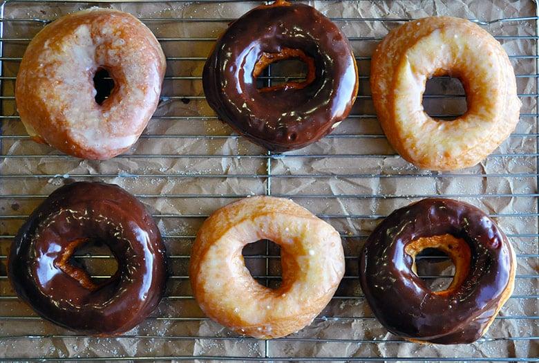 Homemade doughnut recipe chocolate vanilla glazed | ofbatteranddough.com