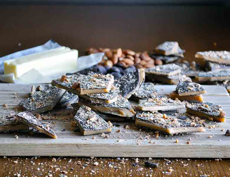 Toffee Recipe | Homemade English toffee recipe with chocolate and almonds | ofbatteranddough.com