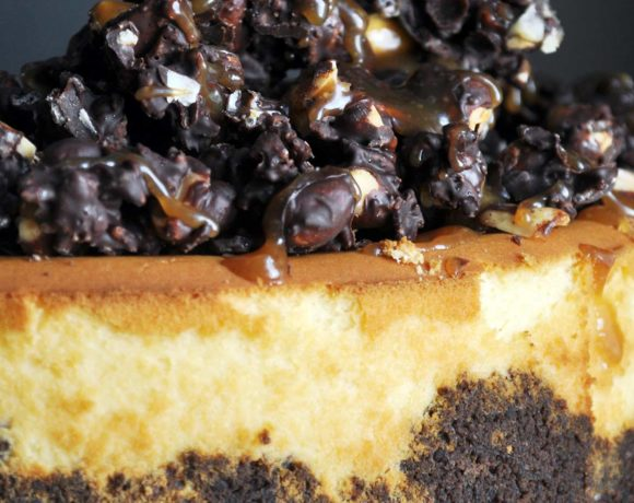 Peanut Butter Cheesecake with Chocolate Peanut Butter Crunch Topping
