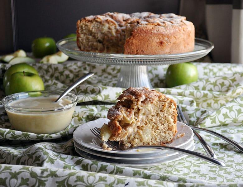 Traditional Irish Apple Cake with Custard Sauce | ofbatteranddough.com