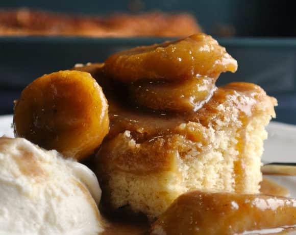 Bananas Foster Butter Cake ~ St. Louis Gooey Butter Cake