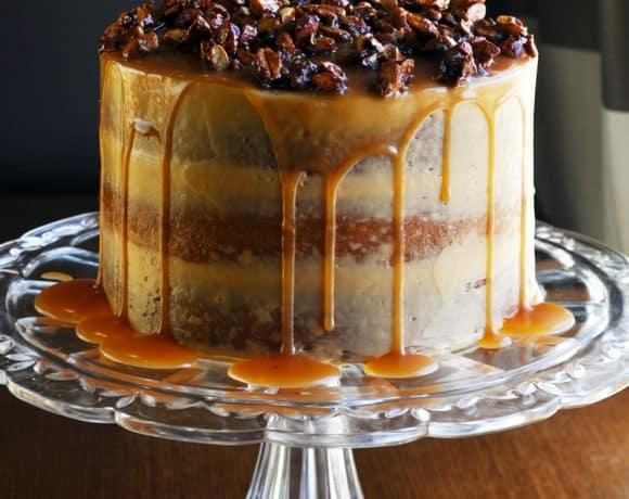 Gluten Free Birthday Cake ~ Caramel Cake with Salted Caramel Italian Meringue Buttercream