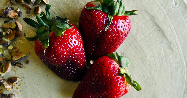The Best fresh Strawberry Cake with Pistachio Buttercream   ofbatteranddough.com