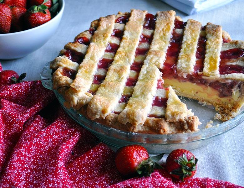 Strawberry Cream Pie | Strawberries and Cream Pie | ofbatteranddough.com