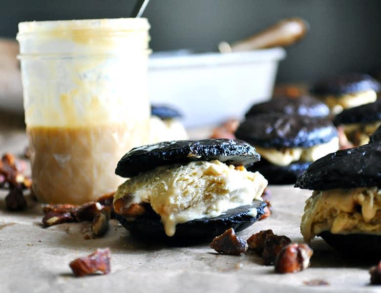 Chocolate Butterscotch Ice Cream Sandwiches | ofbatteranddough.com
