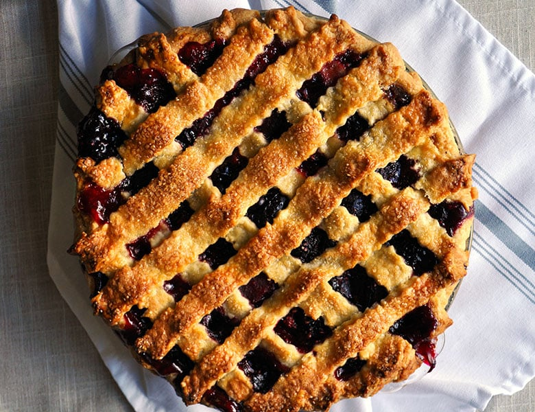 Triple Berry Plumb Pie with Mixed Berries | ofbatteranddough.com