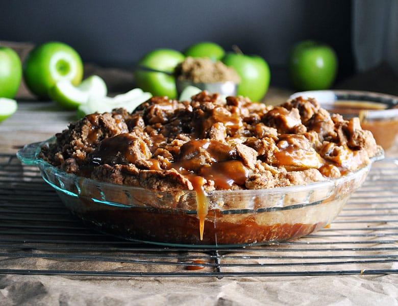 Salted Caramel Apple Pie | ofbatteranddough.com