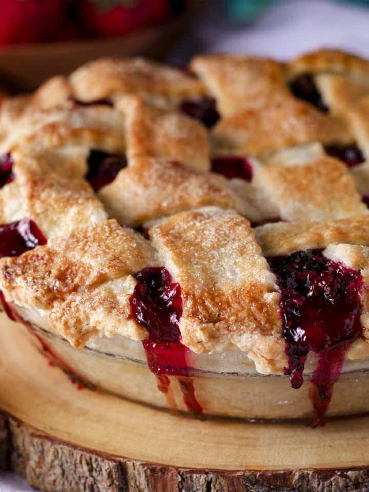 A pie made with foolproof pie crust, baked and ready to eat.