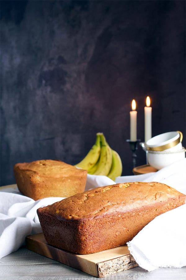 Two loaves of banana bread.