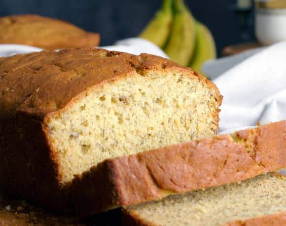 A sliced loaf of easy banana bread.