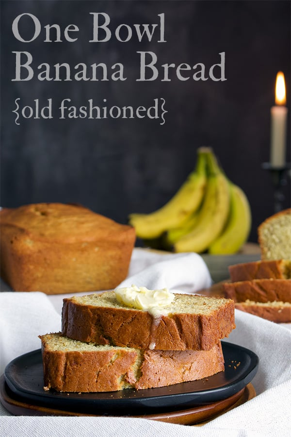 One bowl old fashioned banana bread recipe.