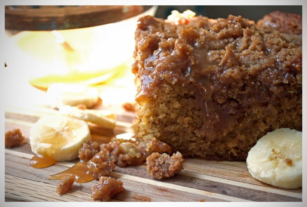 Banana Crumb Cake with Caramel Rum Sauce | OfBatterAndDough.com