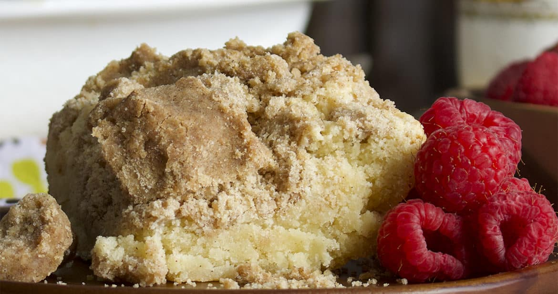 A slice of crumb cake.