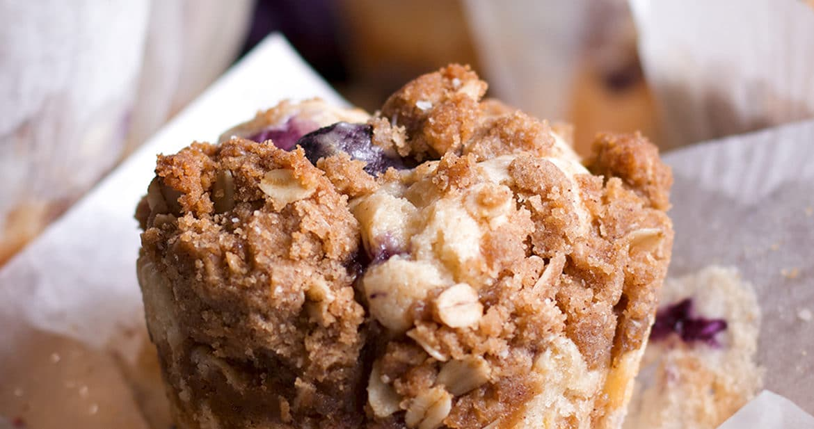 A sour cream streusel blueberry muffin.