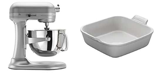 Kitchen aid mixer and square baking dish.