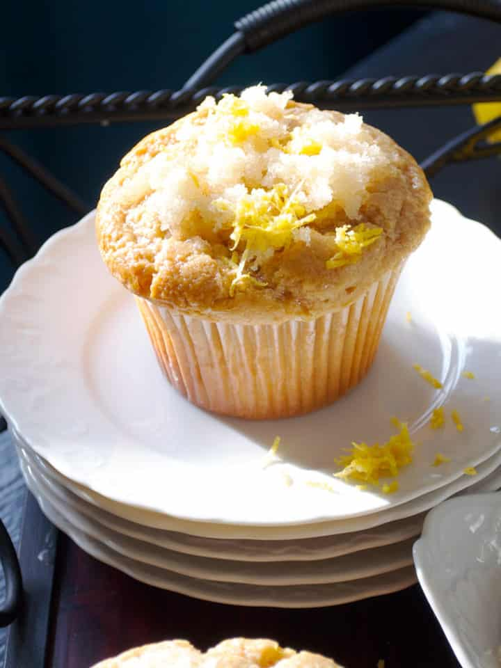 Lemon muffins with ginger | ofbatteranddough.com