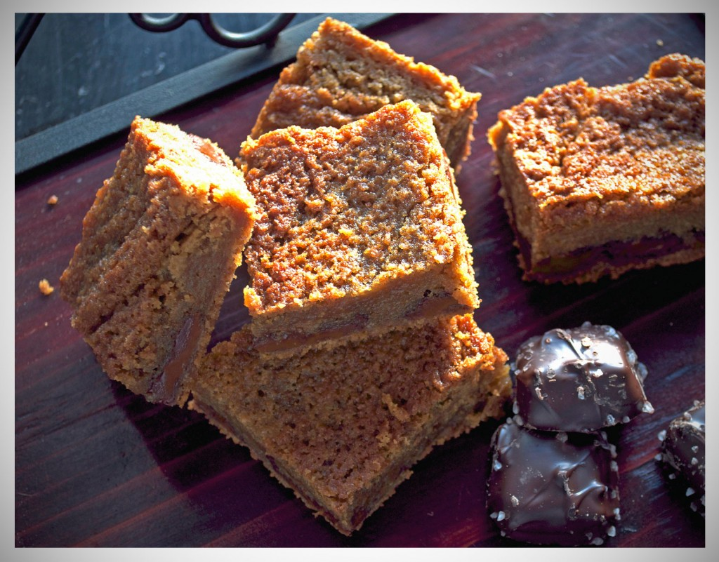 Salted Chocolate Caramel Blondies | OfBatterAndDough.com