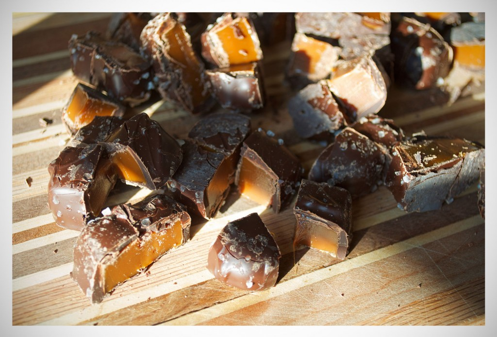 Salted Chocolate Caramels | OfBatterAndDough.com