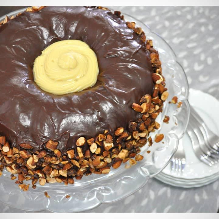 The Ultimate Chocolate Cake with Rum Custard & Almond Pralines recipe