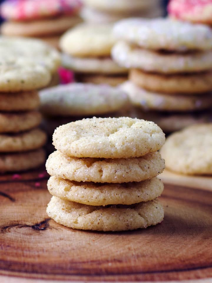 A stack of melt in your mouth buttery vanilla sugar cookies