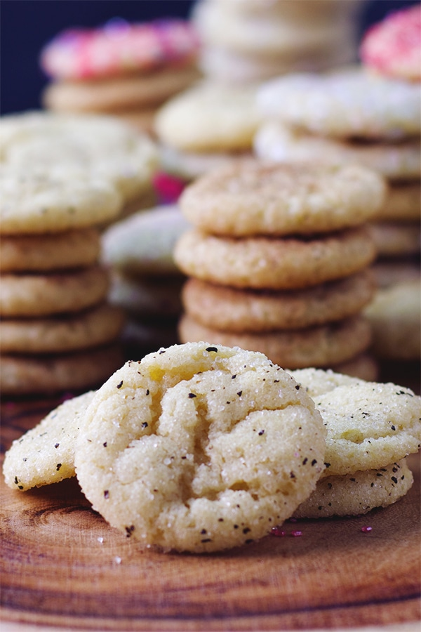 Buttery sugar cookies rolled in sugar and black pepper.