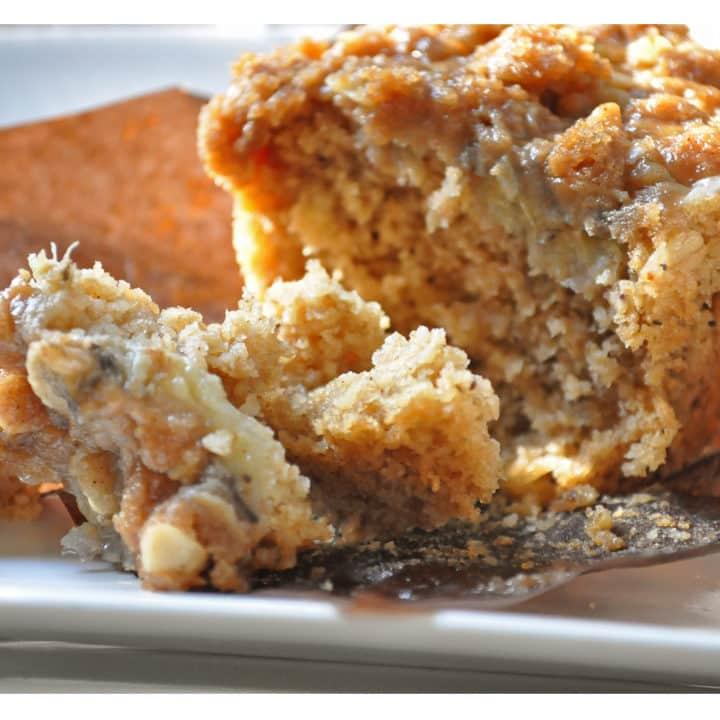 Banana Oat Muffins with Brown Sugar Streusel recipe   OfBatterAndDough.com