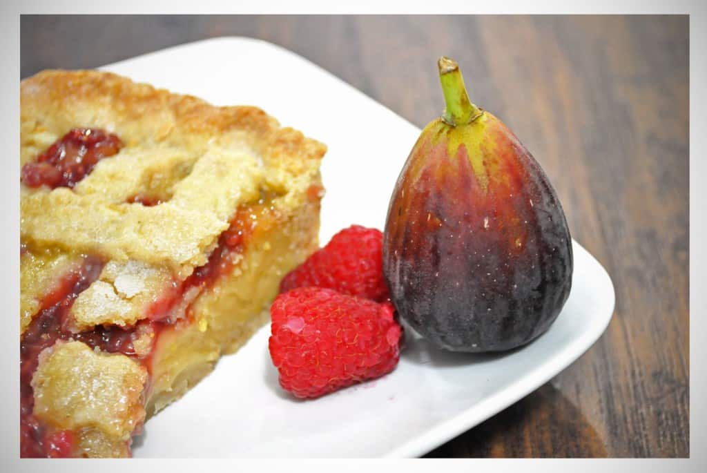 Raspberry Fig Tart in an Almond Cookie Crust | OfBatterAndDough.com