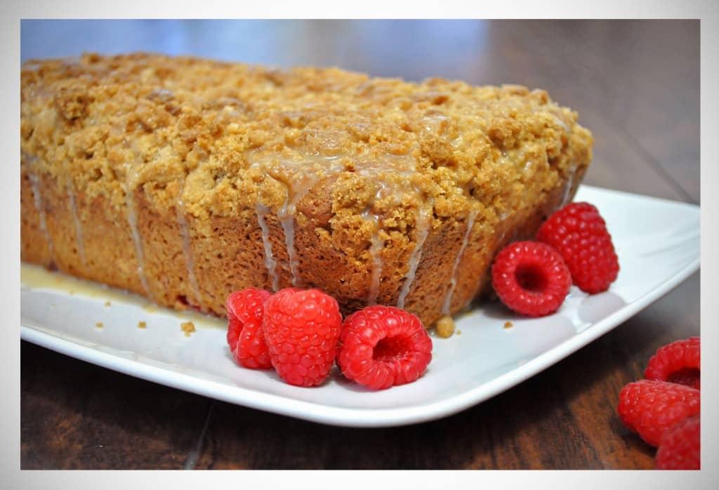 Raspberry Crumb Bread with Lemon Glaze | OfBatterAndDough.com