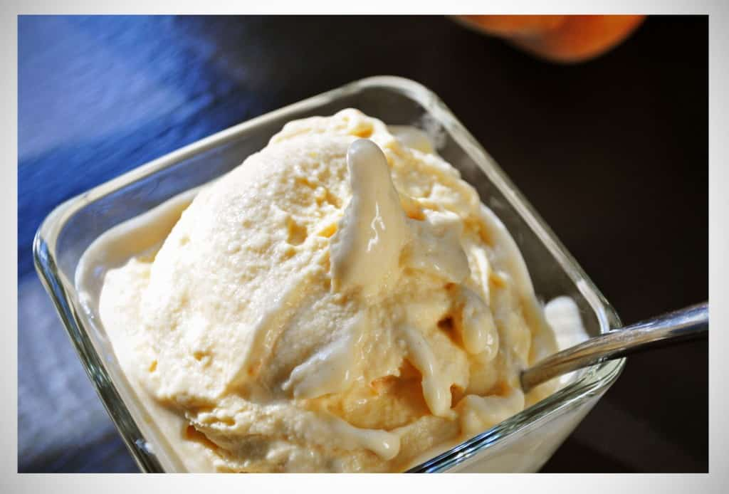 Homemade Peach Ice Cream Batter And Dough
