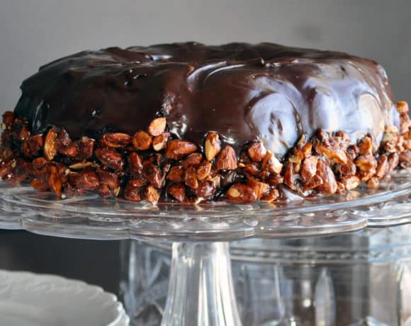 The Ultimate Chocolate Cake with Rum Custard & Almond Pralines