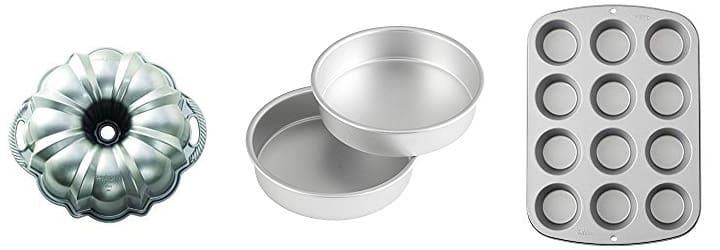 Bundt Cake Pan, two 8-inch round cake pans, Cupcake Pan
