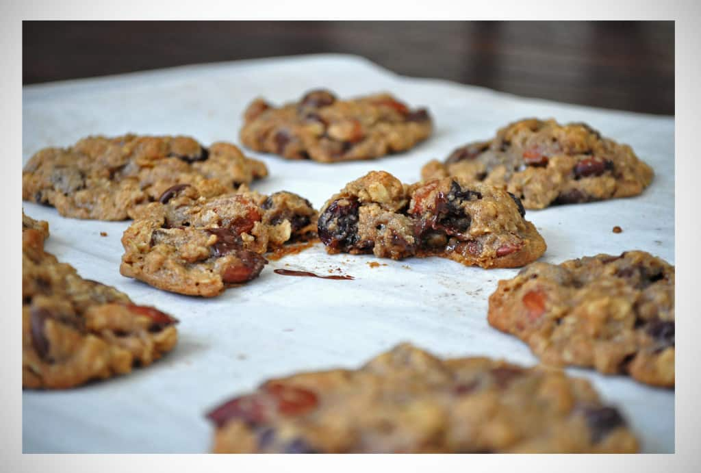 Gluten Free Chocolate Cherry Almond Oatmeal Cookies